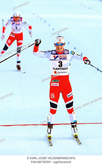 Marit Björgen from Norway cheers at the finish line in the women's cross country event at the Nordic Ski World Championship in Lahti, Finland, 04 March 2017