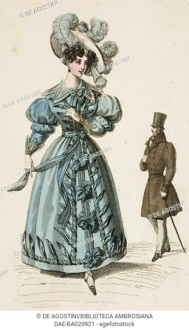 Woman wearing a blue walking dress with puffed sleeves and white hat adorned with ribbons and blue feathers, with a man wearing a walking suit, coat
