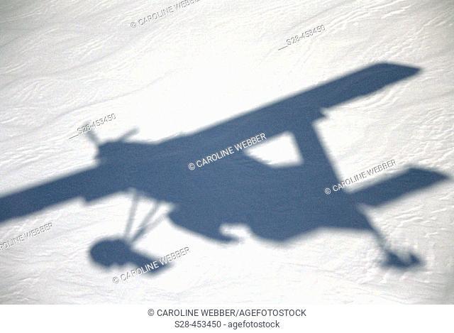 Airplane shadow over snow, Aoraki/Mount Cook National Park, South Island, New Zealand