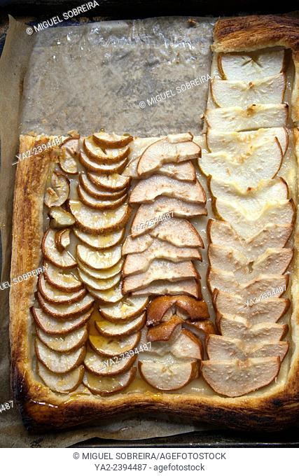 Simple Homemade Pear Tart - slices on Pastry