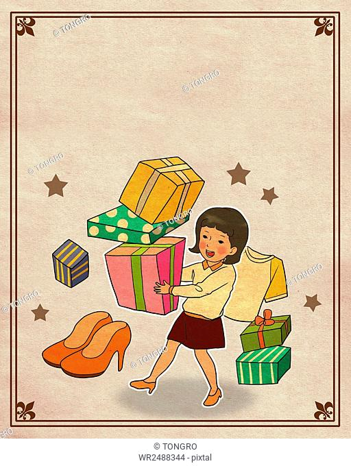 Smiling woman holding present boxes in retro style illustration