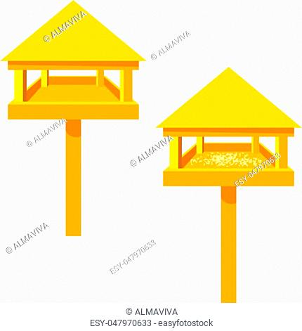 Feeders for birds on a white background. Wooden feeder with a roof . Illustration of nature protection, care of animals and birds. Design element