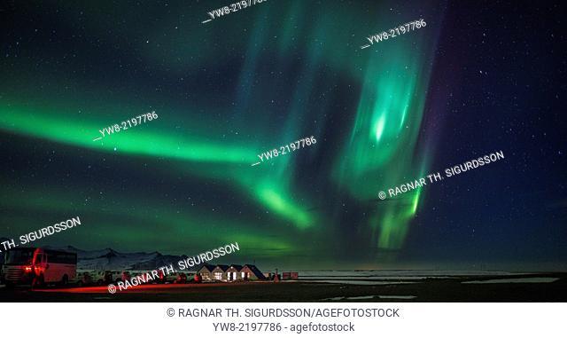 Aurora Borealis or Northern lights, Jokulsarlon, Breidamerkurjokull, Vatnajokull Ice Cap, Iceland