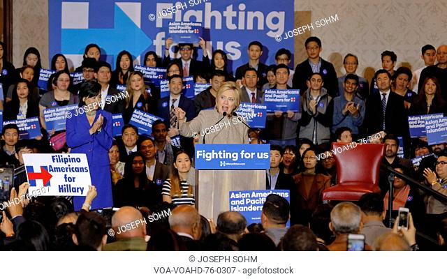 SAN GABRIEL, LA, CA - JANUARY 7, 2016, Democratic Presidential candidate Hillary Clinton speaks to Asian American and Pacific Islander (AAPI) members
