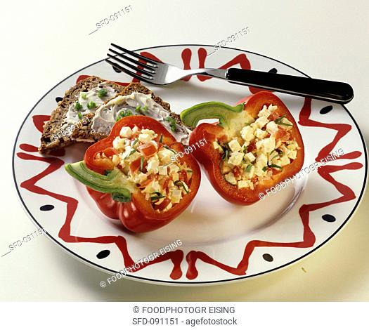 Bell Peppers with Cheese Filling and Bread