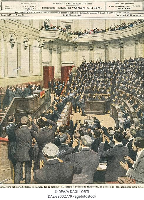 Re-opening of the Italian Parliament on the evening of 22nd February: cheering of the army after its successful campaign in Libya