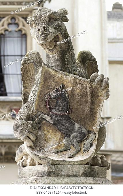 Gargoyle Mythical Creature Stone Statue At The Medieval Castle