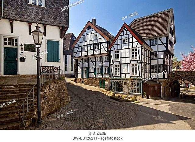 timber-framed houses in the old town, Germany, North Rhine-Westphalia, Ruhr Area, Muelheim/Ruhr
