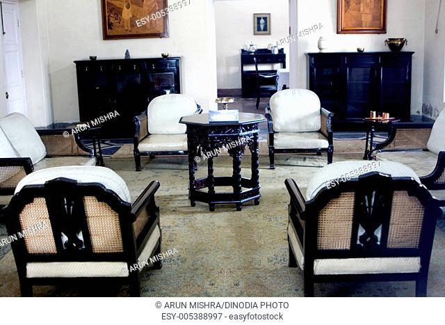 Antique furniture in anand bhawan home of jawaharlal nehru ; Allahabad ; Uttar Pradesh ; India