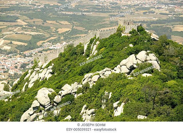 Walls of Castle of Sintra, or Castelo dos Mouros or Moorish Castle, Sintra, Portugal