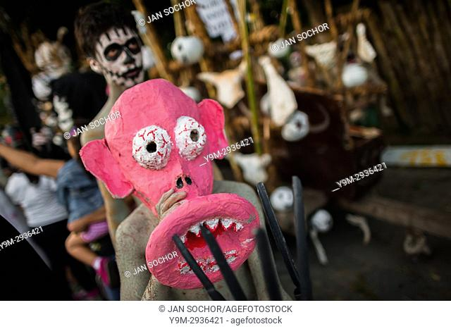 A Salvadoran boy, wearing a pink mask, performs an indigenous mythology character in the La Calabiuza parade at the Day of the Dead festivity in Tonacatepeque