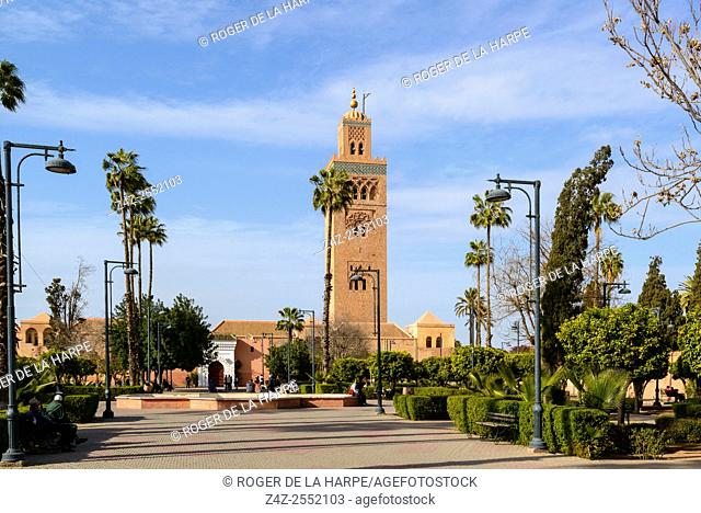 Koutoubia Mosque, also known as Kutubiyya Mosque, Jami' al-Kutubiyah, Kutubiyyin Mosque, and Mosque of the Booksellers. Marrakesh or Marrakech