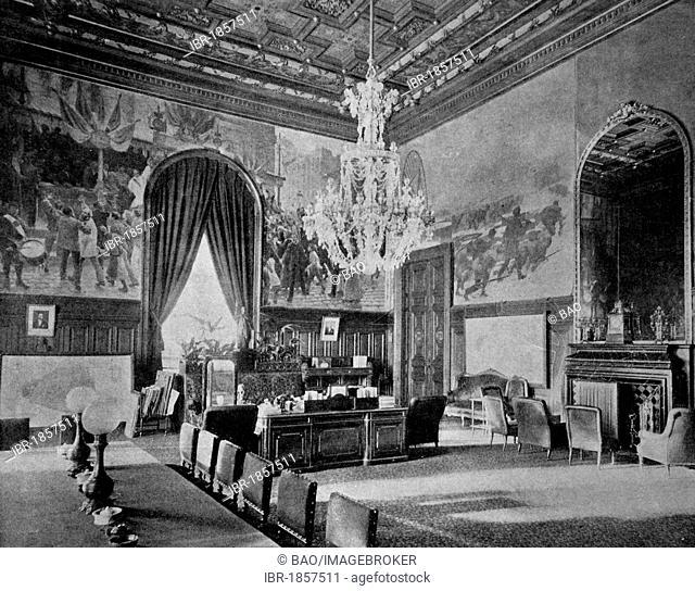 One of the first autotype prints, Cabinet du Préfet at the Hotel de Ville City Hall, historic photograph, 1884, Paris, France, Europe