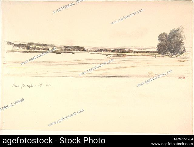 Near Glencaple on the Nith. Artist: Sir David Young Cameron (British, Glasgow, Scotland 1865-1945 Perth, Scotland); Date: 1885-1945; Medium: Graphite and...