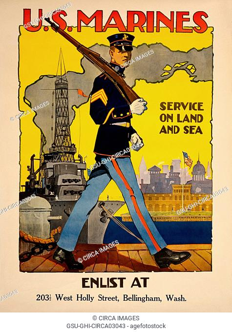 Marine Patrolling Dock with War Ship in Background, U.S. Marines, Service on Land and Sea, World War I Recruitment Poster, by Sidney H