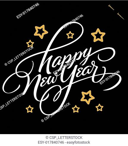 NEW YEAR hand lettering vector