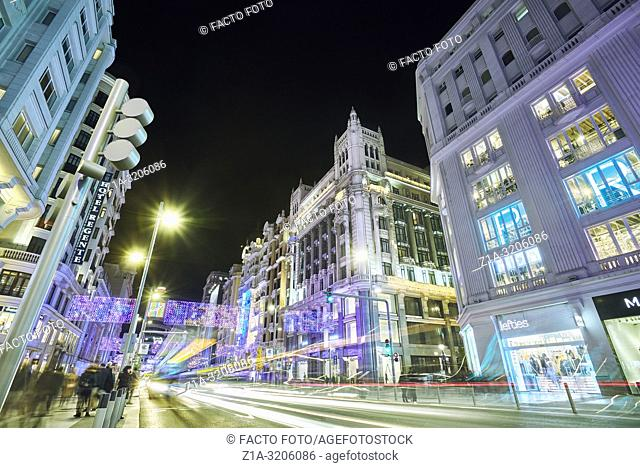 Gran Via street after the reform introduced by MadridÕs City Hall to reduce vehicle pollution, known as Madrid Central. Madrid. Spain
