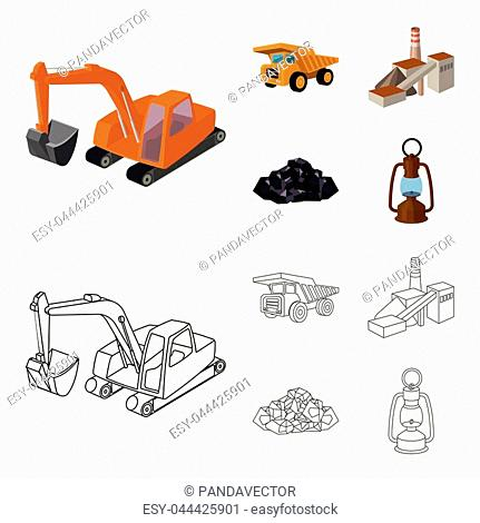 Excavator, dumper, processing plant, minerals and ore.Mining industry set collection icons in cartoon,outline style vector symbol stock illustration