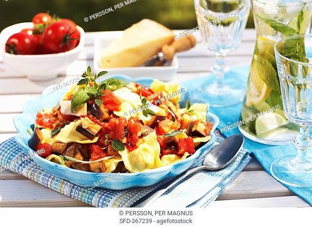 Ravioli with tomato and aubergine sauce