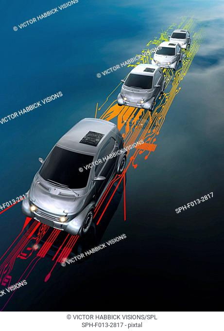 Driverless cars following a digital route, illustration
