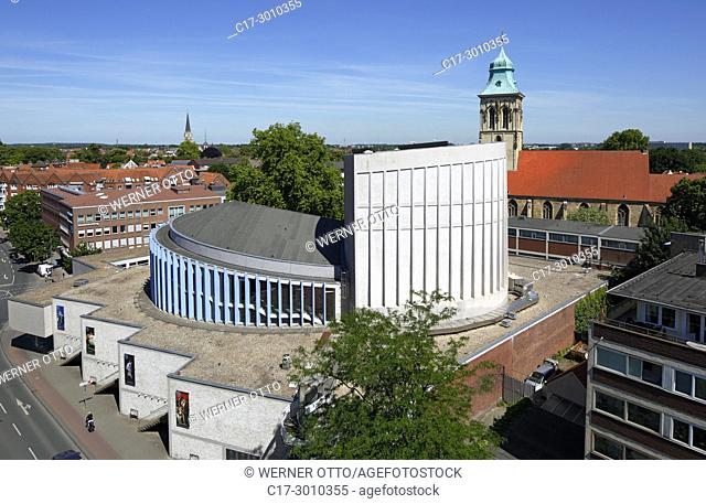Muenster (Westfalen), D-Muenster, Westphalia, Muensterland, North Rhine-Westphalia, NRW, panoramic view, Theatre Muenster and evangelic church Saint Martini