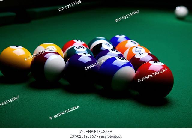 Close-up billiard balls, vivid colors, natural tone