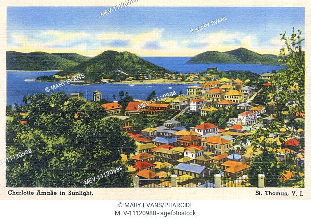 View of Charlotte Amalie, St Thomas, Virgin Islands, West Indies