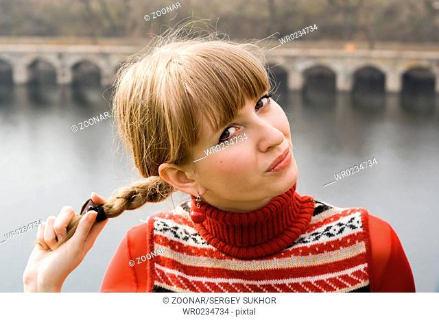 Portrait of the nice girl outdoor