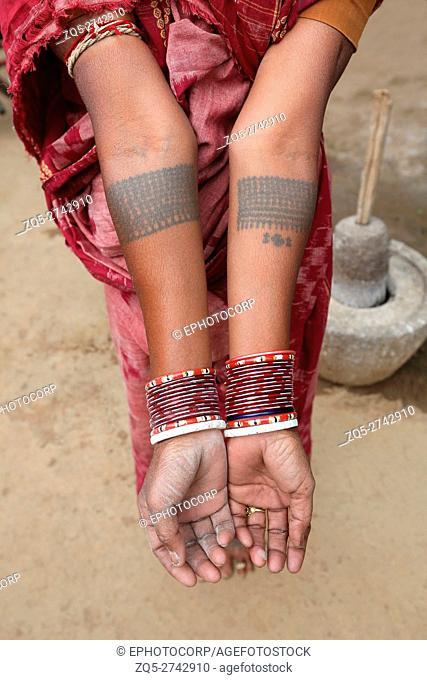 Traditional Tattoos on arms, SAWAR TRIBE, Akashkhar Village, Saraipali Tehsil, Mahasamund District, Chattisgarh, India