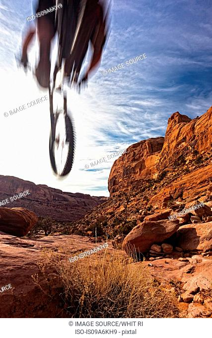 Blurred view of mountain biker in air
