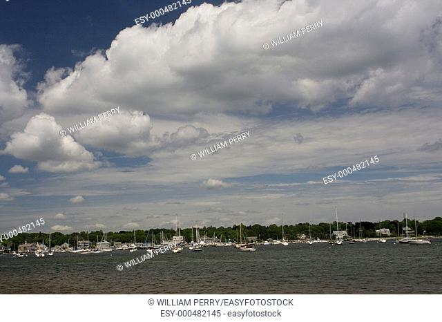 Padnaram Harbor in the Summer Time, Dartmouth, Massachusets, USA with Yachts and under fair skies