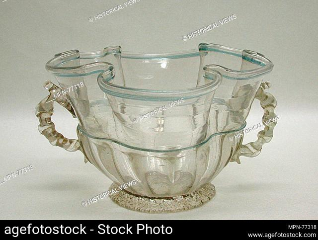 Bowl. Date: early 18th century; Culture: Spanish, Castile; Medium: Glass; Dimensions: H. 4 1/8 in. (10.5 cm); gr. W. 7 1/2 in. (19.2 cm