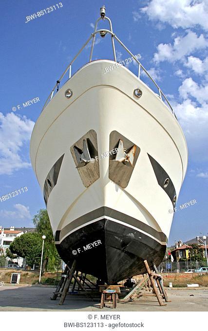 yacht in dry dock, Turkey, Kusadasi