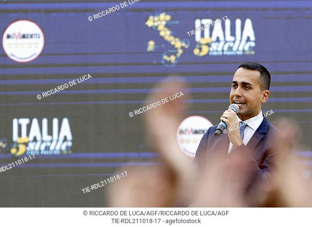 Leader of Five-Star movement Luigi Di Maio talks during a rally at Rome's Circus Maximus at Rome, ITALY-21-10-2018