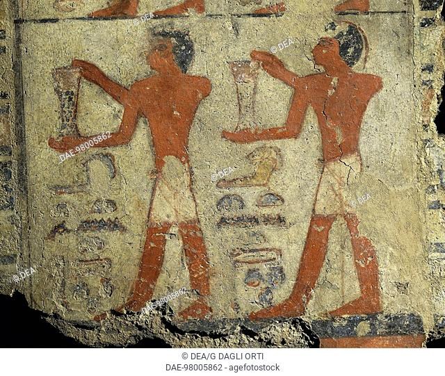 Egyptian civilization, Old Kingdom, Dynasty V. Fragment of wall painting depicting transport of ointments, from the tomb of Metchetchi at Saqqara