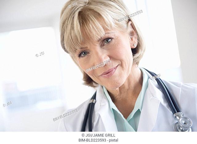 Older Caucasian doctor wearing stethoscope