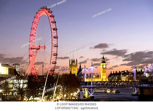 The London Eye and Big Ben with Houses of Parliament at Night