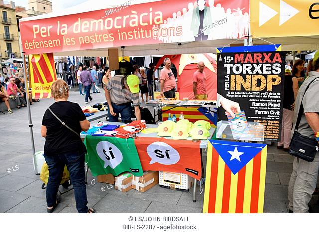 Catalonia, Spain Sep 2017.Vilafranca del Penedes. On 1 October Catalans will go to the polls to vote in a referendum on whether to secede from Spain and form an...