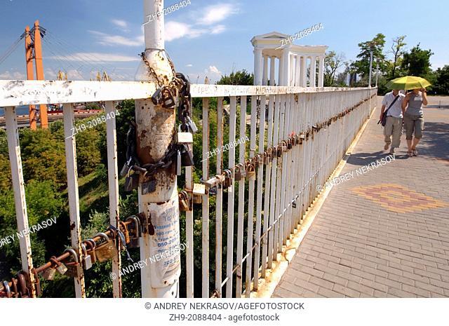 Locks on the Mother-in-law's bridge, the love character, Odessa, Ukraine, Europe