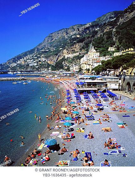Public beach, Amalfi, Campania, Italy