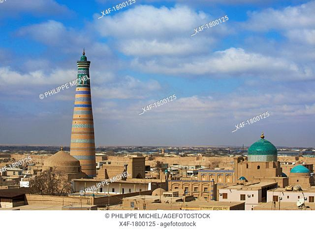 Uzbekistan, Khiva, Unesco World Heritage, city and Islam Hoja minar