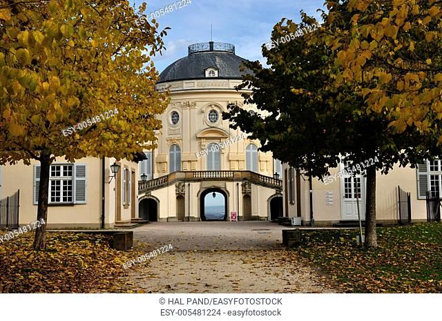 rear alley schloss solitude, stuttgart, autumn foresight from the garden alley of the famous castle located in a park in surroundings of the city