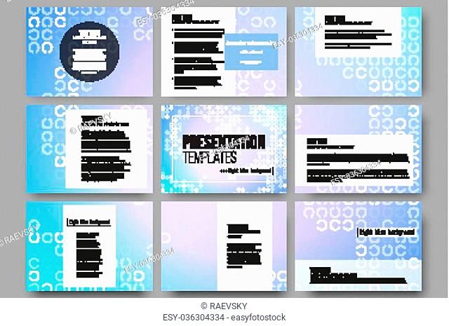 Set of 9 vector templates for presentation slides. Abstract white circles on light blue background, vector illustration