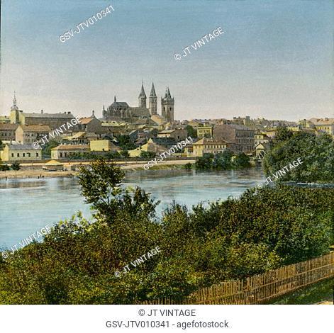 Panorama, Cologne, Germany, Hand-Colored Magic Lantern Slide, Newton & Company, 1910