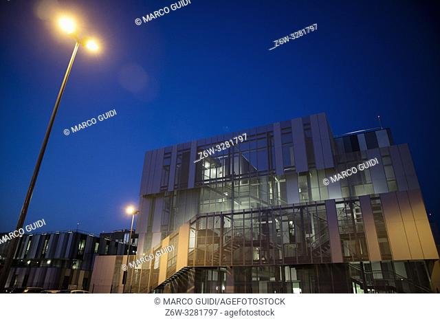 Night view of the architecture of the new hospital of Massa Carrara Italy