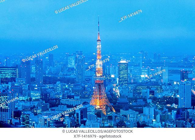 skyline of Tokyo  In the center tokyo tower Tokyo city, Japan, Asia