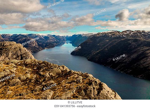 Lysefjorden seen from Preikestolen, mountains and fjord, blue sky with white clouds. Stavanger, Norway 2016