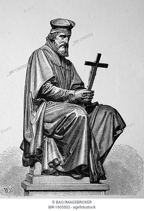 Jan Hus, John Huss, 1369 - 1415, Christian reformer, founder of the Hussite Church, woodcut from 1880