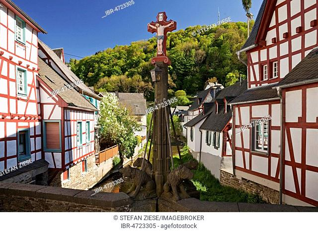 Historic town center with half-timbered houses on Elzbach, Monreal, Eifel, Rhineland-Palatinate, Germany
