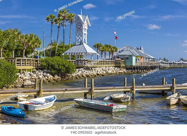 Bridge Street Pier and clock tower on Anna Maria Island in Bradenton Beach Florida